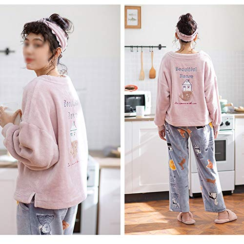 Amantes Hogar Cómodos Gwdj Femenina Pijamas Xl color Pink Pink De Simple La Impresión Pijamas Espesan Tamaño Convenientes El Ropa Liruipengsy Los Masculina Casual qtZYw