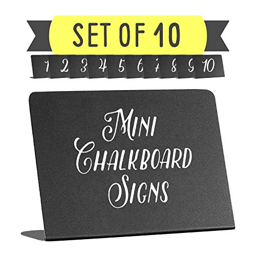- Mini Chalkboard Tabletop Signs - For Liquid Chalk Markers and Chalk - Display Chalkboard Signs - Table Numbers - Food Labels For Party - Wedding Table Signs - Deli Counter signs - 3x4x1.5in. set of 10