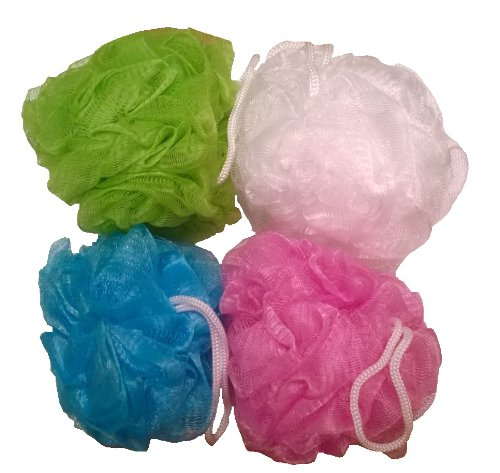 Daylee Naturals Mesh Bath Pouf Sponge 4 Pack (Shower Puff)