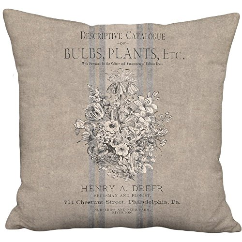 Duck Americana (Rustic Americana Farmhouse Bouquet Country Grain Sack Style Linen Cotton Pillow Cover - Sizes to Fit Inserts 16
