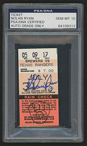 Nolan Ryan Autographed Signed Brewers Vs. Rangers 300 Nl Win Game Ticket PSA/DNA Certified