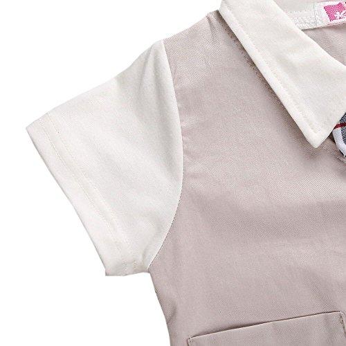 Taiycyxgan Baby Boy Summer Short Sleeve Gentleman Bow Tie Tuxedo Rompers Bodysuits Khaki 80