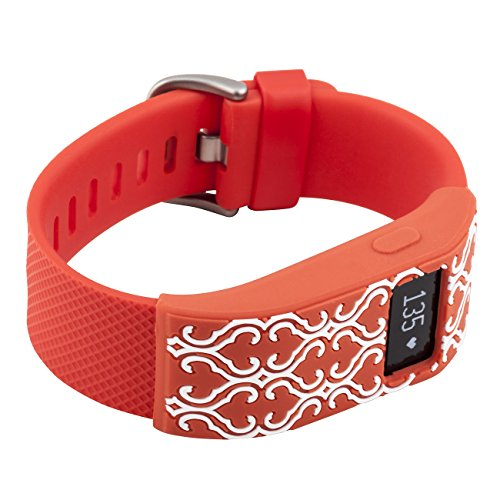 XO Your Sister - Fitbit Charge/Fitbit Charge HR Slim Designer Sleeve - Band Cover - Arabesque tangerine/whit Photo #1
