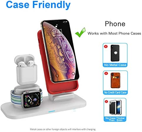 Wireless Charger, 3 in 1 Wireless Charging Station for Apple Watch and iPhone Airpods, Wireless Charging Stand Compatible for Apple iPhone X/XS/XR/Xs Max/8/8 Plus Apple Watch Series 4 3 2 1 Airpods 51sbew1RURL
