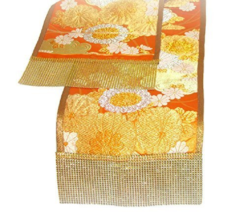 Japanese Sash Table Runner U2013 Vintage Kimono Silk Dining Runner U2013 Orange  Flower Sequin Table Decor