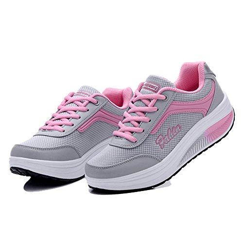 Le Donne Enllerviid Allacciano La Piattaforma Fitness Allenano Le Sneakers Con Le Scarpe Da Passeggio Rx8391 Rosa