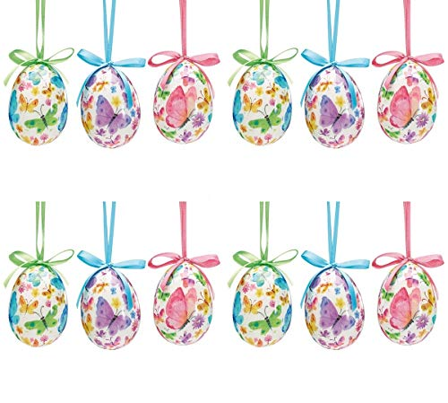 Butterfly Colored Easter Egg Home Decor Ornament Assortment, Pack of 12 -