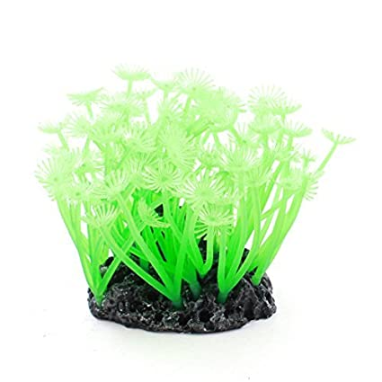 Amazon.com : eDealMax De silicona del acuario de rocalla Base Agua Artificial Coral 10cm Alto Verde : Pet Supplies