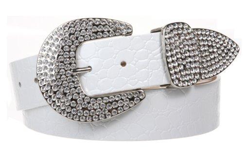 Womens Snap On Western Crocodile Print Rhinestone Leather Belt, White | M/L - 36 ()