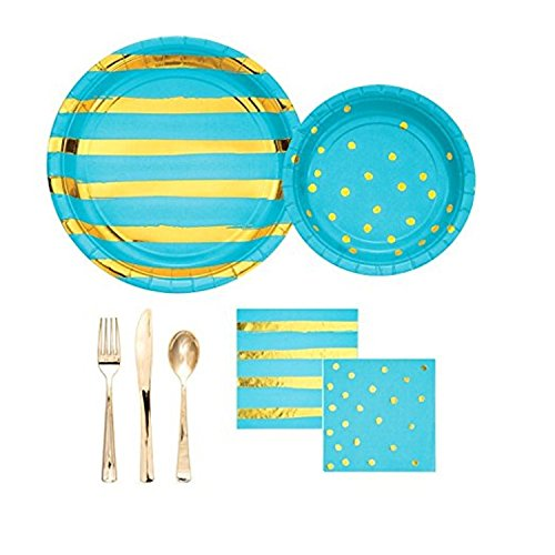 Touch of Color Foil Bermuda Blue Themed Party Pack, Includes 8 Luncheon Plates, 8 Dinner Plates, 16 Luncheon Napkins, 8 Beverage Napkins, Asst Gold Metallic Cutlery - 8 sets of knife, fork, spoon.