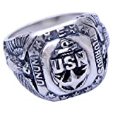 For Fox Mens Vintage 925 Sterling Silver United States Navy US Military Veteran Eagle Ring Size 11