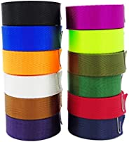 Grosun 12Pcs Colored Nylon Heavy Webbing Straps, 1 inch x 3.3 Yards Weather Resistant Fabric Straps for Bags,