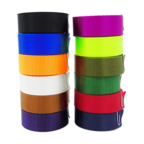 Grosun 12Pcs Colored Nylon Heavy Webbing Straps, 1 inch x 3.3 yards Weather Resistant Fabric Straps for Bags, Backpacks, Handles, Luggage, Slings ()