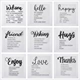 Welcome to Joyful Home 9pcs/Set Welcome Hello Hugs Frineds Sentiments Rubber Clear Stamp for Card Making Decoration and Scrap