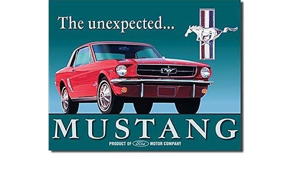 """FORD MUSTANG PONY ROUND METAL TIN 12/"""" SIGN RED MANCAVE NOSTALGIC RETRO GARAGE"""