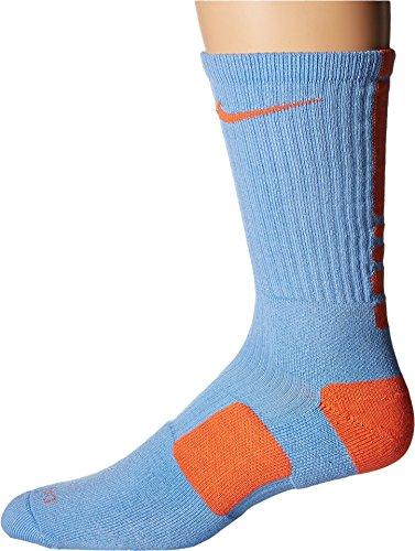 Nike Elite Basketball Crew Light Blue/Turf Orange/Turf Orange Crew Cut Socks -