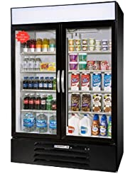 Beverage-Air MMR44-1-B-LED MarketMax 47 Two Section Glass Door Reach-In Merchandiser Refrigerator with LED Lighting 45 cu.ft. Capacity Black Exterior and Bottom Mounted