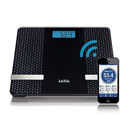 Laica PS7002 - Báscula composición corporal con conexión Bluetooth 180 kg, (Negro, Plaza