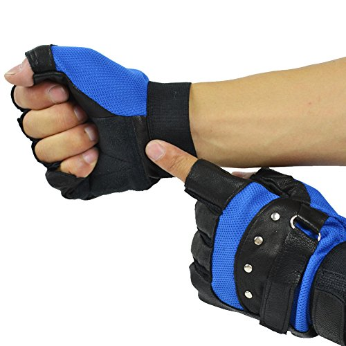 Yosang Cycling Riding Gloves Half Finger Sheepskin Leather Motorcycle Studs Exercise Sport Gloves ,Width 10.5cm ,Length 15cm,BlackBlue,Width 10.5cm ,Length 15cm