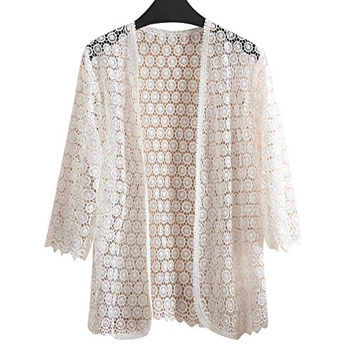 Uther Women Long Sleeve Open Front Kimono Cardigans Tops Sexy Lace Crochet Hollow Out Shirt White 4XL