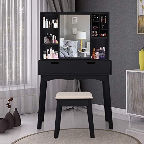 - LYNSLIM Vanity Set with Moving Mirror & Cushioned Stool Dressing Table Vanity Makeup Table, 2 Sliding Drawers,5 Storage Shelves, Jewelry Armoire Makeup Organizer Vanity Desk (Black)