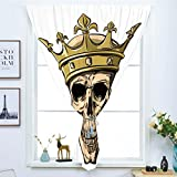 Blackout Curtain Free Punching Magic Stickers Window Curtain,King,Dead Skull Skeleton Head with Royal Holy Crown Tiara Hand Drawn Image,Golden and Light Brown,for Living Room Bedroom, study, kitchen,