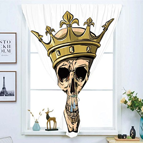 Blackout Curtain Free Punching Magic Stickers Window Curtain,King,Dead Skull Skeleton Head with Royal Holy Crown Tiara Hand Drawn Image,Golden and Light Brown,for Living Room Bedroom, study, kitchen, by iPrint
