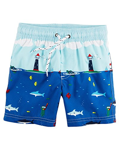 Carters Boys Toddler Swim Trunks, Blue Sailboats, 5T ()