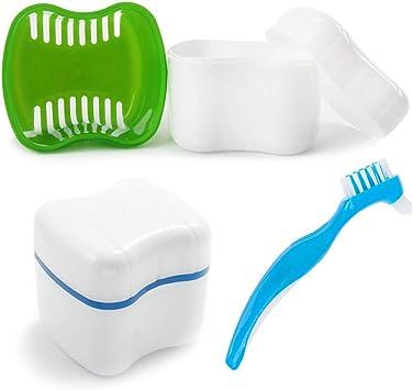 3Pz Caja del Baño de la Dentadura con Cepillo de Limpieza (2+1), AUHOTA Caja del Almacenamiento de Los Dientes Falsos con Cesta de Enjuague, Baño para Dentadura Limpieza de Retenedores(2 colores): Amazon.es: