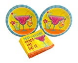 Margaritas Cocktail Fun Paper Plate Bundle with Dessert Plates & Napkins for 16 Guests