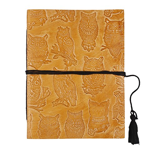 Aluminum Journal (Store Indya Leather Journal Notebook Diary Personal Organizer Handmade Travel Book Sketchbook with 96 Eco-Friendly Pages Embossed Owl Motif 8 X 6 Inches)