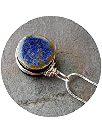 Stormy Blue Glass Essential Oil Diffuser Aromatherapy Pendant .925 sterling Silver Necklace chain