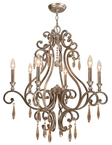Crystorama 7526-DT Crystal Accents Six Light Chandeliers from Shelby collection in Bronze/Darkfinish,