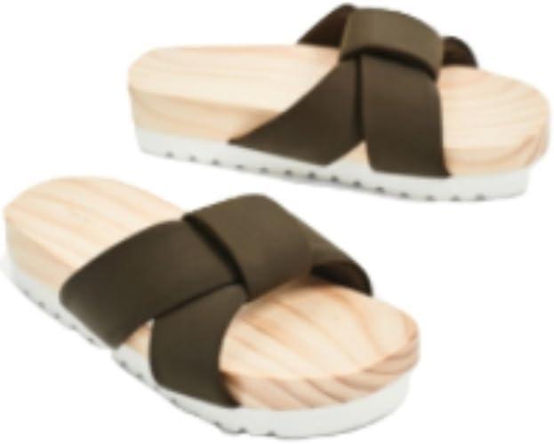 Zara Wooden Sole Slides 10 US Green