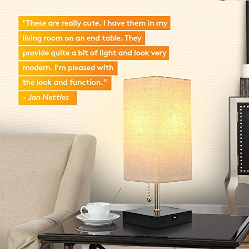 Brightech Grace LED USB Bedside Table & Desk Lamp – Modern Lamp with Soft, Ambient Light, Unique Lampshade & Functional USB Port – Perfect for Table in Bedroom, Living Room, or Office - Black by Brightech (Image #6)