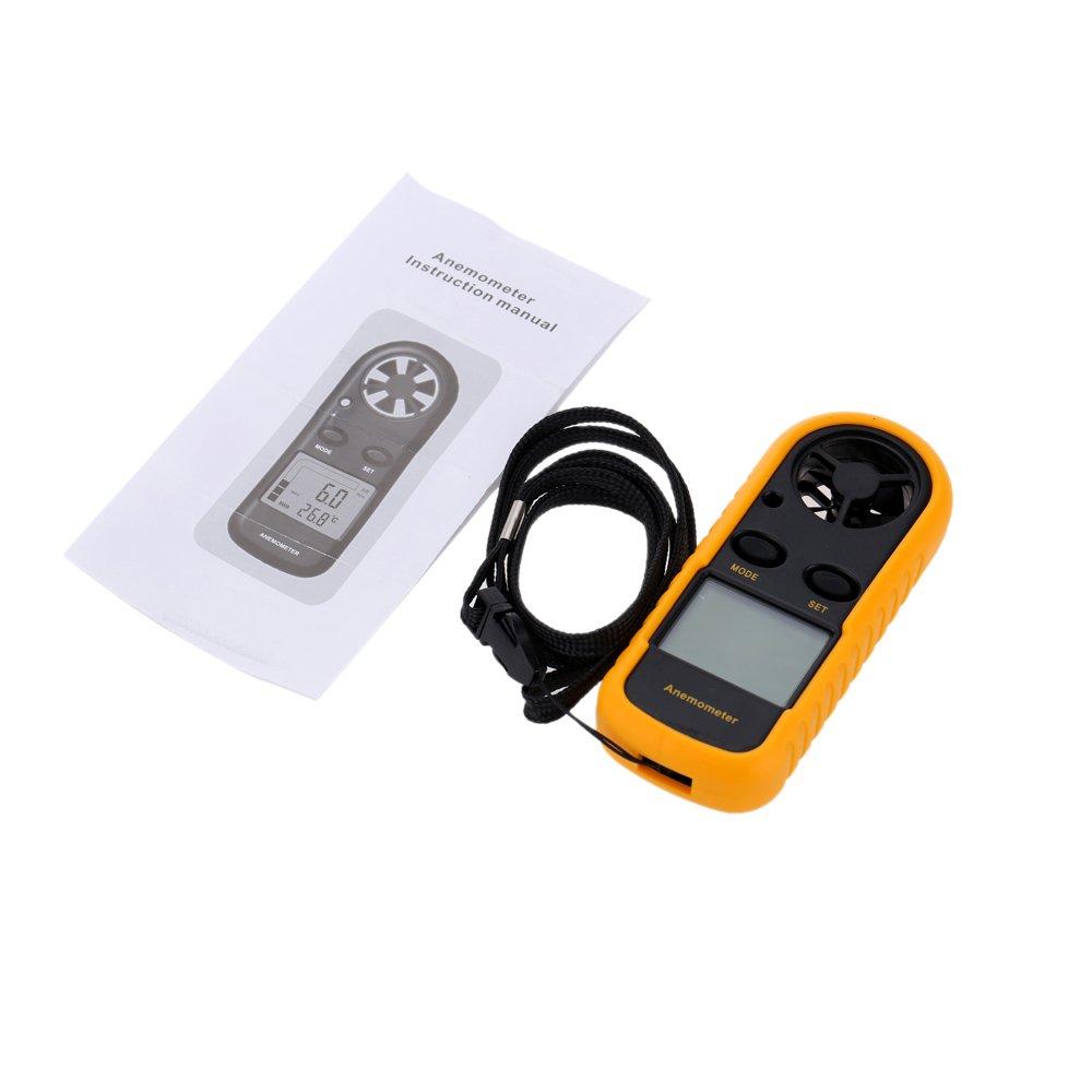 Kkmoon GM 816 Windmesser Anemometer Handheld Windgeschwindigkeitsmesser Windmessger/ät Temperatur Thermometer mit LCD Hintergrund Beleuchtung Anzeige
