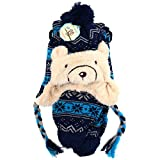 Children's Snowflake Bear Winter Knitted Ear Flap Lined Pom Beanie Hat & Scarf Set (Navy Blue)