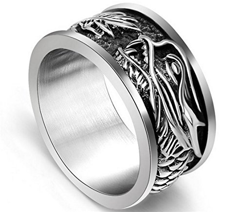 PSRINGS Dragon Head Rings Punk Rock Style Red Stone Rings Stage Stainless Steel Rings 11.0