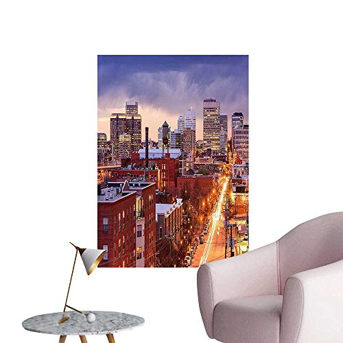 (Wall Stickers for Living Room Richm Virg ia Highway Fice Build gs Downtown Dusk Urban LIF tyle Vinyl Wall Stickers Print,16