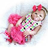 NPK Full Body Silicone Vinyl Reborn Baby Dolls 20 inch 50 cm Magnetic Pacifier Red Clothes Lifelike Newborn Baby Dolls Hots (pink)