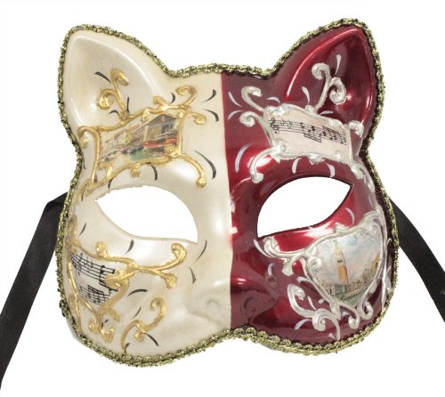 Cheap Masquerade Masks For Men (RedSkyTrader Mens Cat Face Venetian Party Mask One Size Fits Most White And Red)