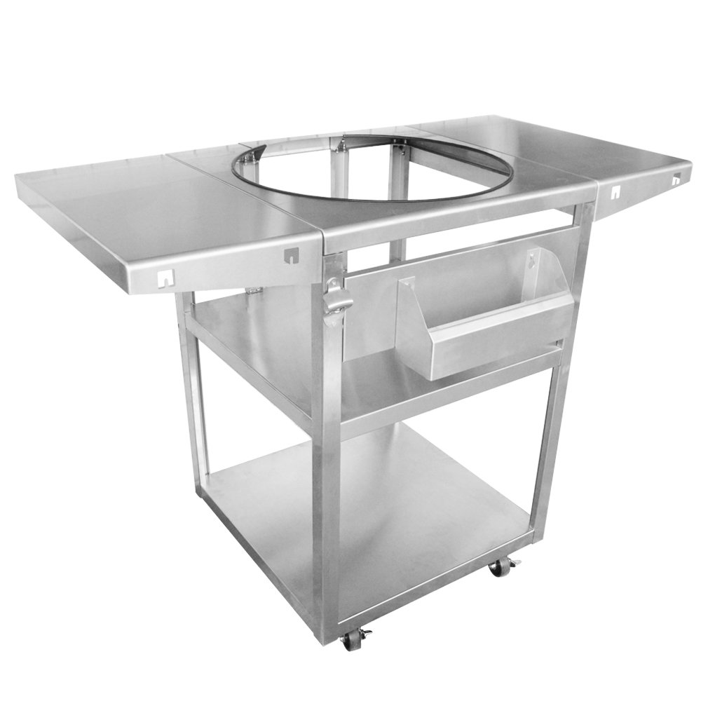 only fire Stainless Steel Table Top Grill Cart Fits for Big Green Egg XLarge, Kamado Joe Big Joe and Other Kamado Grills