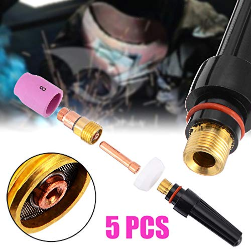 5Pcs//set 1.6mm Welding Torch Stubby Cup Gas Collet Body Lens for  WP-17//18//26