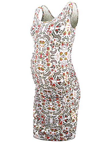 JOYMOM Work Maternity Clothes,Pregnancy Plus Size Pleated Round Neck Sleeveless Printed Dress Boutique Clothes Going Out Dresses for Ladies Casual Business Wear White Red Flower XX-Large