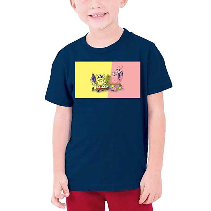 Kaivi Personalized Spongebob and Patrick Funny T Shirt O-Neck for Minor Black