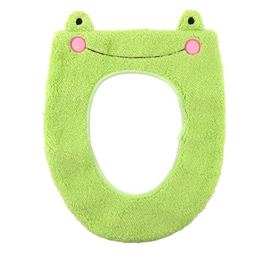 uxcell Plush Bathroom Toilet Frog Pattern Oval Shaped Stool Washable Warmer Seat Cover Pad Green