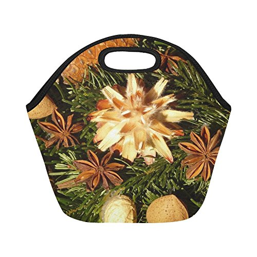 Insulated Neoprene Lunch Bag Advent Wreath Seeds Ornament Silver Seed Large Size Reusable Thermal Thick Lunch Tote Bags For -lunch Boxes For Outdoors,work, Office, School (Wreaths Gold Advent)