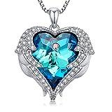 Caperci Angel Wings Swarovski Crystal Heart Pendant Necklace, 18''