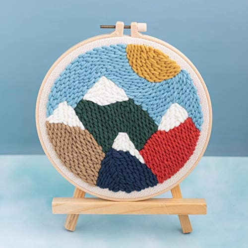 Landscape Series Pattern Punch Needle Embroidery Starter Kits Punch Needle Tool Threader Fabric Embroidery Hoop Yarn Rug Punch Needle