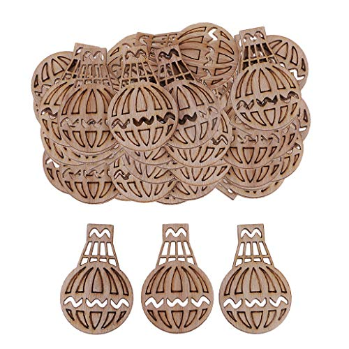 Baosity 100 Pieces Natural Cutouts Wood Hot Air Balloon Shapes Rustic Wooden Embellishment Scrapbooking Craft DIY Wind Chimes Wedding Table Home Decorations